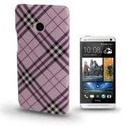 Gird Pattern Plastic Case for HTC One / M7 (Light Purple)