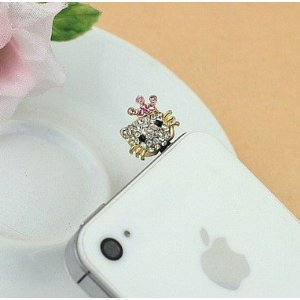 MinisDesign Pink Crystal Hello Kitty Earphone Jack / Dust Plug for Apple For iPhone