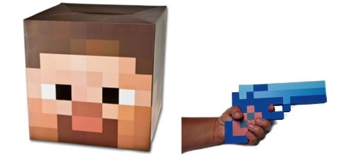 Minecraft Steve Cardboard Head Mask with Blue Diamond Foam Pixel Gun Costume Set