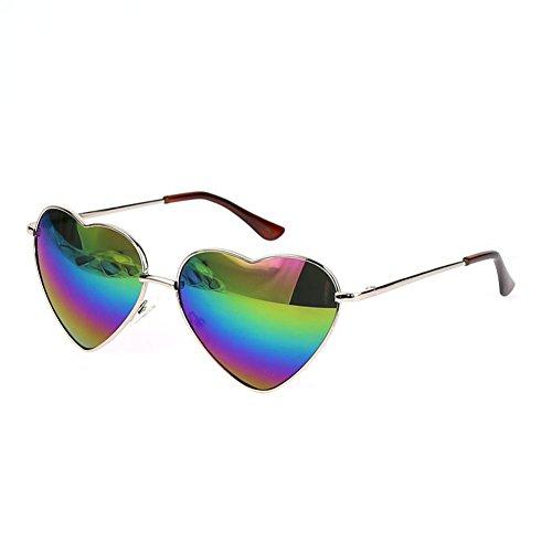 FUNOC® Retro Metal Frame Heart Shaped Shape Gradient Sunglasses Eyewear