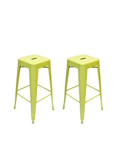 Aeon Euro Home Collection Set of 2 Galaxy Bar Stools, Lime