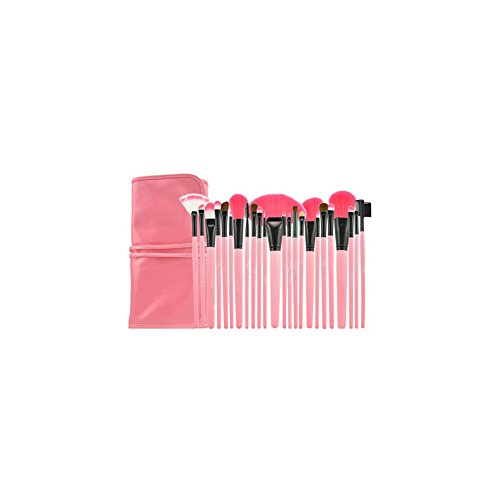 Surker High Quality 24Pcs Professional Makeup Brushes Set Cosmetic Make Up Brush Kit Pink Makeup Tool +Pink Leather Case Pcpa00071