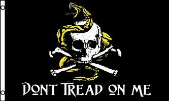 "3'x5' ""Don't Tread on Me"" Pirate FLAG, jolly roger, skull, gadsden, american, us, u.s. , u.s.a. , usa,"