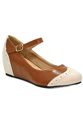 Chase And Chloe Bobby-15 Classic Two Tone Oxford Wedge Heel-Tan-7