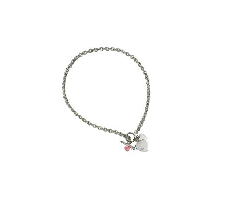 Sterling Silver Heart Charm Toggle Necklace