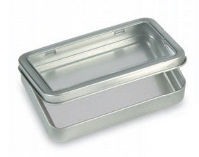 Amazon Com Silver Rectangular Tin W Hinged Lid Silver