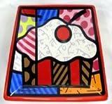 Romero Britto Square Side Plate-(Cupcake)
