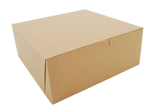 "Southern Champion Tray 0973K Kraft Paperboard Non Window Lock Corner Bakery Box, 10"" Length X 10"" Width X 4"" Height (Case Of 100)"