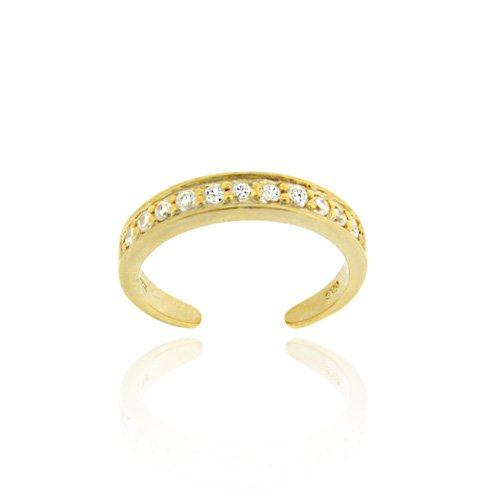 18K Gold Over Sterling Silver Channel Set CZ Toe Ring