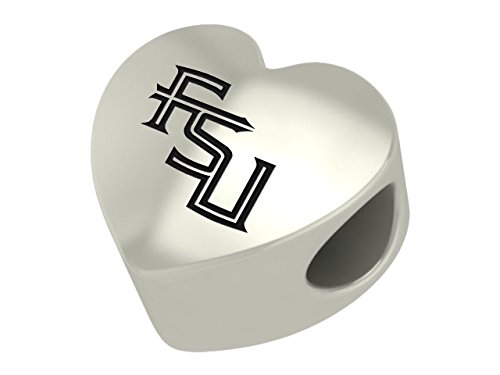 Florida State Seminoles Sterling Silver Heart Bead Fits Most European Style Charm Bracelets