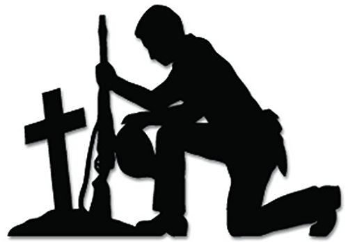 Soldier Praying Military Vinyl Decal Sticker For Vehicle Car Truck Window Bumper Wall Decor - [20 inch/50 cm Wide] - Gloss BLACK Color (Window Decal Praying Soldier compare prices)