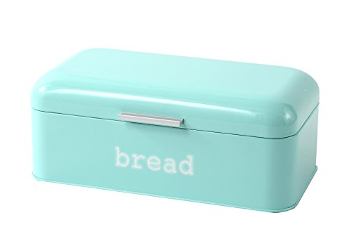 Blue Metal Vintage Glossy Bread Box for Kitchen Food Storage by Juvale (Retro Kitchen Bread Box compare prices)