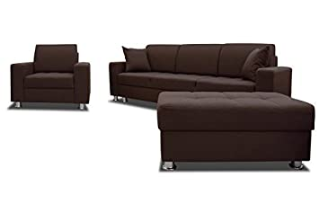 Sofa Garnitur Anabelle Wohnlandschaft Couch Hocker Bettfunktion 01307