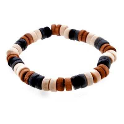 Urban Male Bead Style Surf Bracelet For Men In Brown, Cream & Black