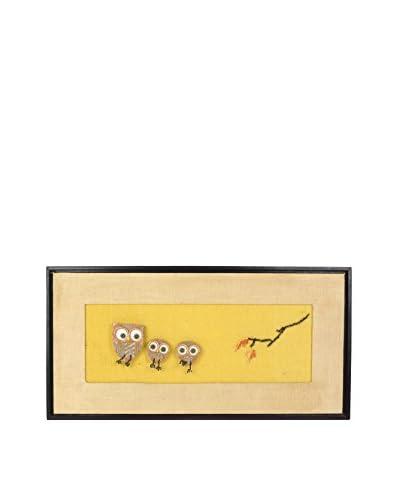 Uptown Down Vintage Owl Artwork, Yellow/Tan