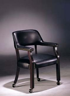 captain chair with casters dark blue bycast leather