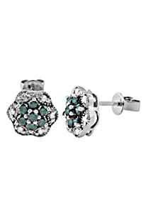 Effy Jewlery 14K White Gold Blue and White Diamond Earrings, .79 TCW