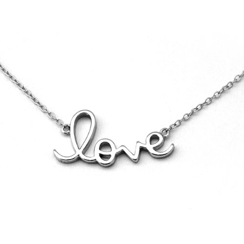 Solid Sterling Silver Script Word LOVE Necklace