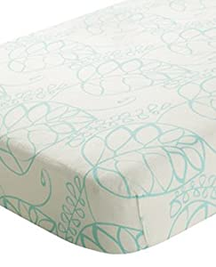 Aden + Anais Bamboo Crib Sheet - Azure Leafy - Aqua