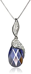 """Sterling Silver Purple Special Cut Briolette and White with Swarovski Elements Pendant Necklace, 18"""""""
