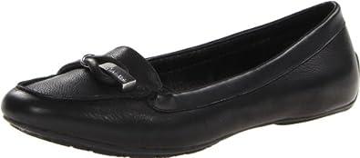 Calvin Klein Women's Trevan Tumbled Leather Nappa Slip-On Loafer,Black,8.5 M US