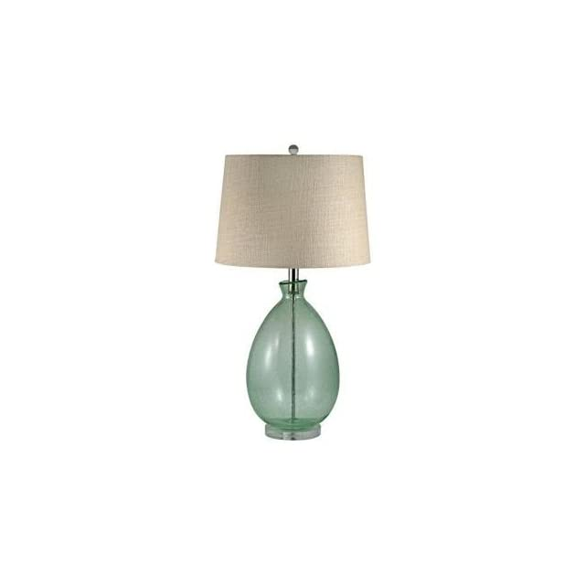 Light Green Seeded Glass Table Lamp