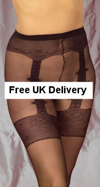 Fifteen denier sheer tights with imitation suspender belt and stockings. One Size.