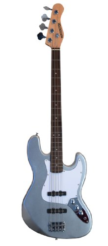 "Full Size 43"" Jazz J Electric Bass Guitar With Gig Bag And Accessories - Metallic Silver (Includes, Strap, Strings & Directlycheap(Tm) Translucent Blue Medium Guitar Pick)"