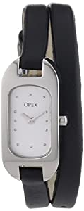 Opex - 390A2P - Ballerine - Montre Femme - Quartz Analogique - Cadran Acier Brossé - Bracelet Cuir Noir