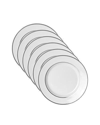 10 Strawberry Street Set of 6 Double Line Salad/Dessert Plates, White/Silver