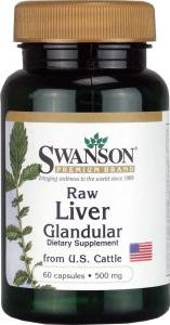Swanson Raw Liver Glandular US Sourced Cattle (500mg, 60 Capsules)