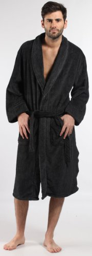 Mens Harvey James Classic Warm Herringbone Fleece Bathrobe Dressing Gown Grey M