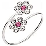 Silver and Diamante Flower Toe Ring