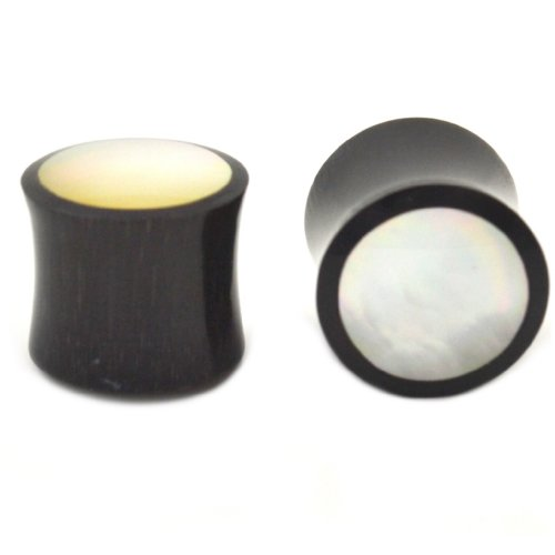 """Pair (2) Organic Horn Mop White Pearl Inlay Ear Plugs Black Saddle Tunnels - 7/8"""" 22Mm"""