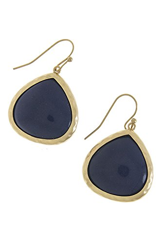 Contempo Couture Large Ovate Shape Semi Precious Stone Earrings (Navy)