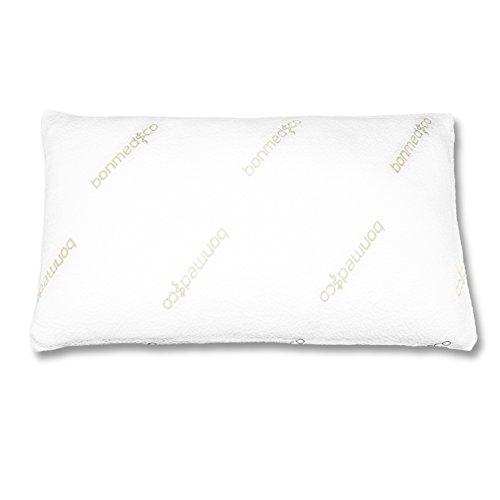 Bonmedico® Pillow Dream Cuscino ortopedico con sagomatura per il supporto del collo, con copertura ipoallergenica in bambù resistente agli acari della polvere e imbottitura in strisce di memory foam, perfetto per ogni posizione e tipologia di sonno, utilizzabile con federe da 40x80cm