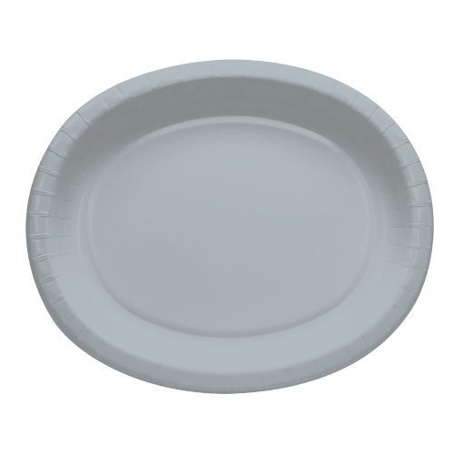 Creative Converting 8 Count Oval Paper Platters, Shimmering Silver