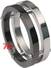 Stainless Steel Black Titanium MODERN Men's Ring Sz 9