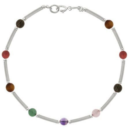 Sterling Silver .925 Genuine Multi Color Stone Bar and Bead Bracelet