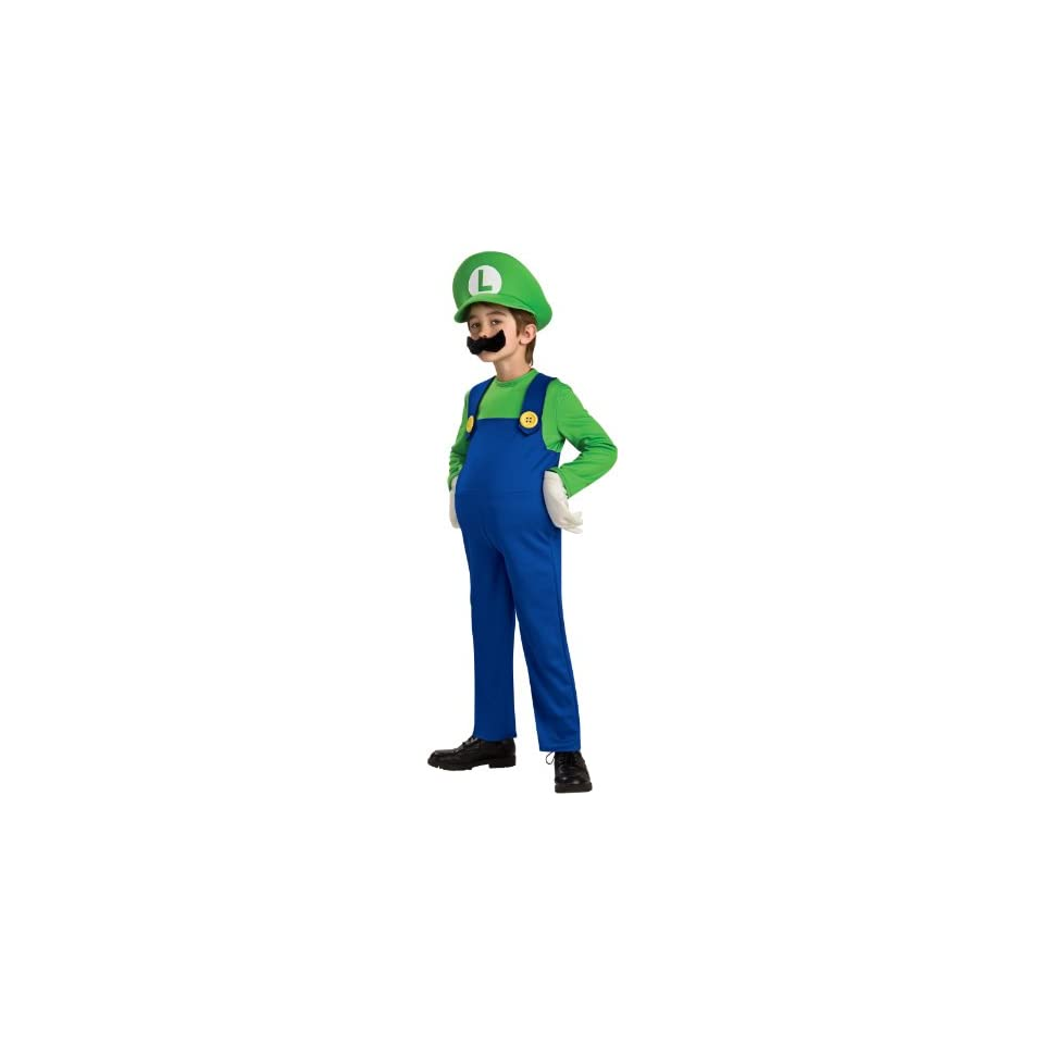 Lets Party By Rubies Costumes Super Mario Bros.   Luigi Deluxe Toddler / Child Costume / Green/Blue   Size Toddler (2/4)