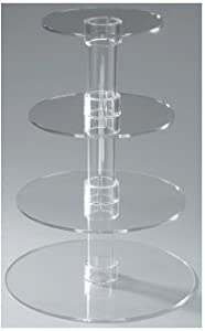 Utenlid 4-Tier Stacked Party Cupcake and Dessert Tower - Clear Acrylic Cake Stand from Utenlid