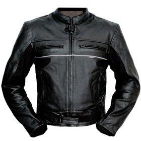 motowear24 Blouson de moto en cuir Noir