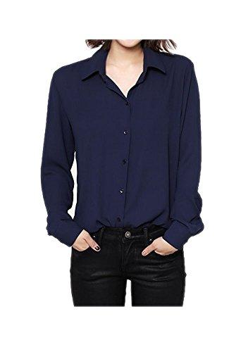 ARJOSA® Women's Chiffon Long Sleeve Button Down Casual Shirt Blouse Top (US XL /Asian XXXL, #1