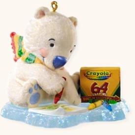 Hallmark Keepsake Crayola Crayons Coloring Fun Teddy Bear 2008 Christmas Ornament