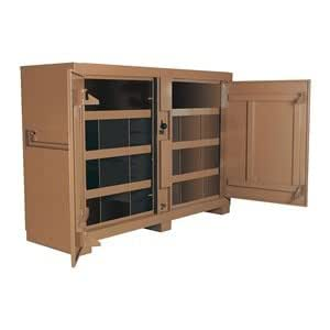 Jobsite Bin Cabinet, 2-Door, 72x24x51, Tan