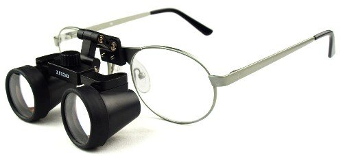 "Featured On ""Bones"" -- Dental Surgical Medical Binocular Loupes -- 2.5X420Mm Working Distance -- Flip Up Silver Titanium Frame"
