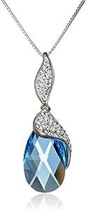 "Carnevale Sterling Silver Blue Briolette with Swarovski Elements Pendant Necklace, 18"""