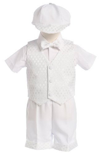 White Diamond Vest And Short Christening Or Special Occasion Set With Cap