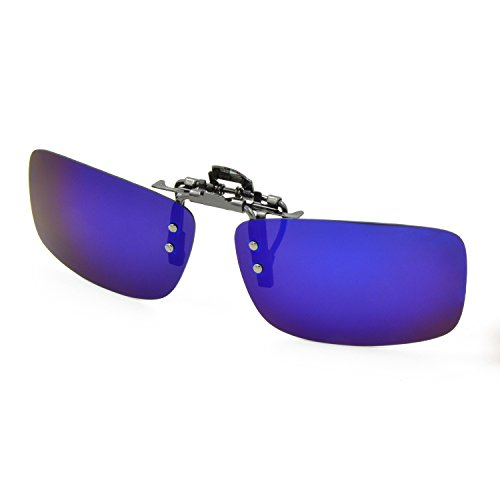 Besgoods Polarized Clip-on Flip up Metal Clip Sunglasses Lenses Glasses Unbreakable Driving Fishing Outdoor Sport New-Royal Blue Mirror Silver Mirror
