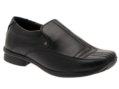 NEW BOYS KIDS BLACK SCHOOL SHOES SMART FORMAL WEDDING FAUX LEATHER SLIP ONS sizes 13-6